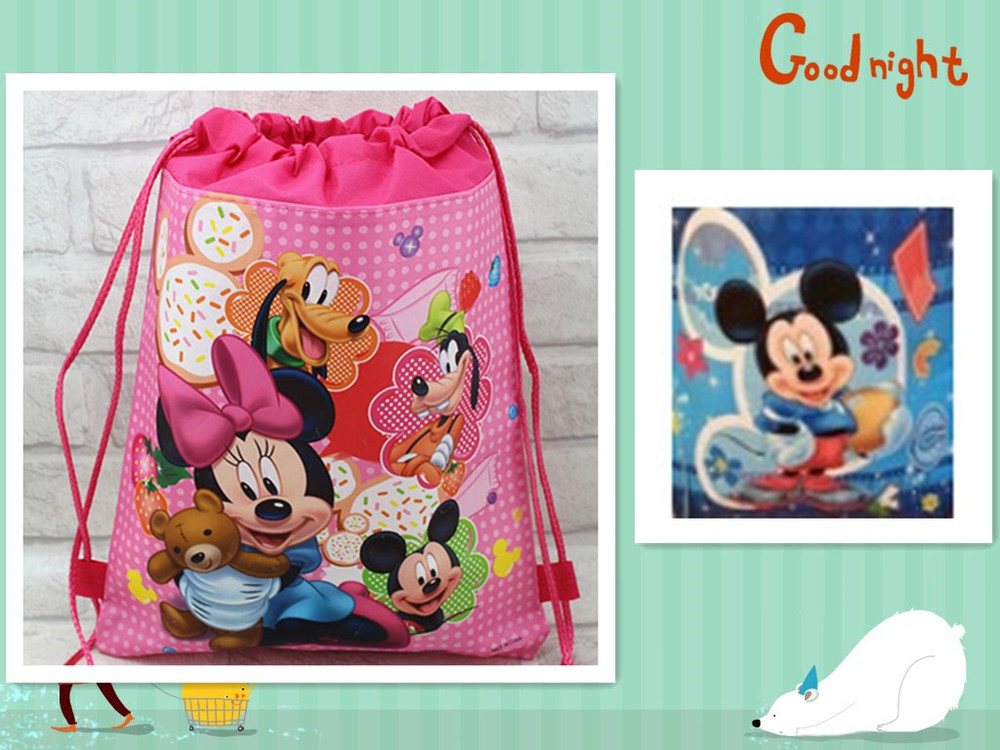 2017 high qulity cute school bag non-woven string shoe backpack shopping bag for boys and girls birthday gifts bag beach bag