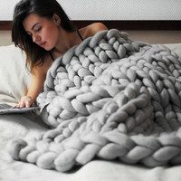 80 100cm 100 100cm 100 120cm Hand Chunky Knitted Blanket Thick Wool Bulky Knitting Throw 6