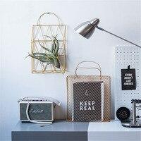 Scandinavian Mesh Metal Table Storage Basket with Handle Chic Rose Gold Wall Storage Basket Book Magazine Organizer Basket