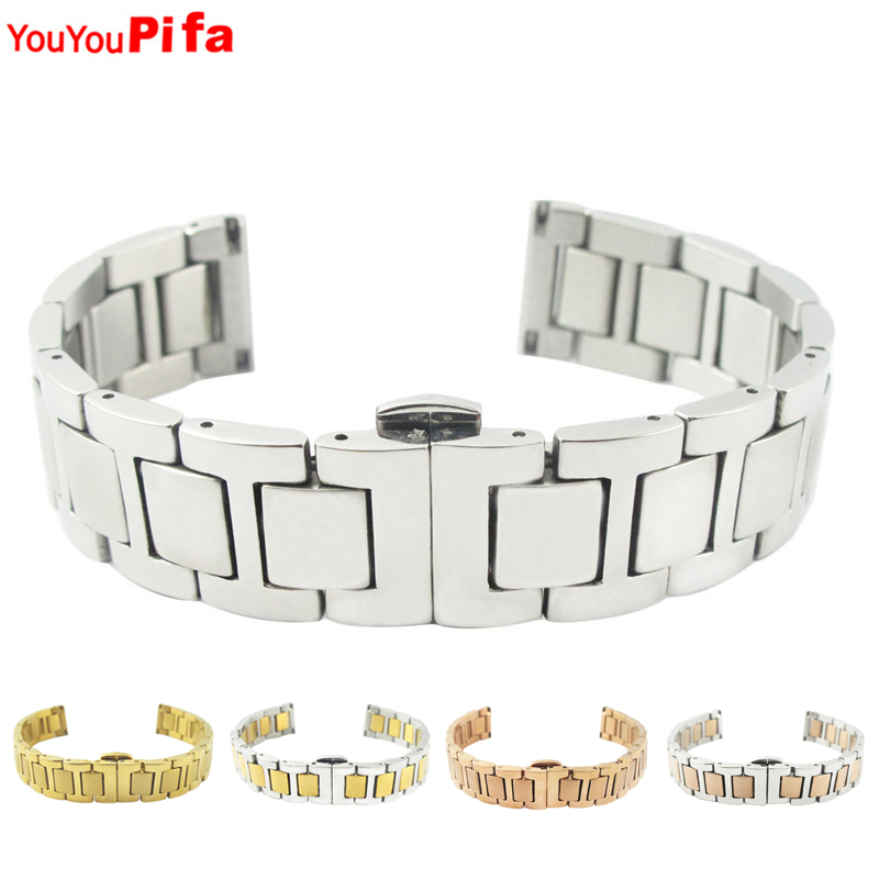 Newly Silver Gold Rose Gold Mixed Color Watch Accessories Stainless Steel Bracelet Band 14mm 20mm Width Length Watchband