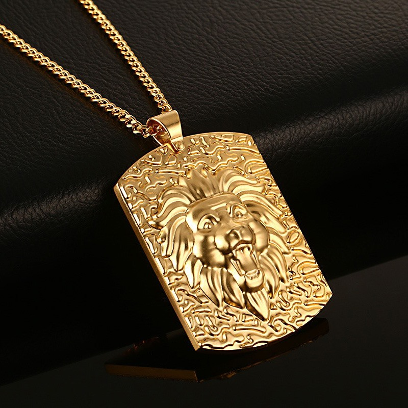 Stunning mens necklace pendants stainless steel men dog tag lion stunning mens necklace pendants stainless steel men dog tag lion king pendant necklace gold color collares kolye fashion jewelry in pendant necklaces from aloadofball Gallery