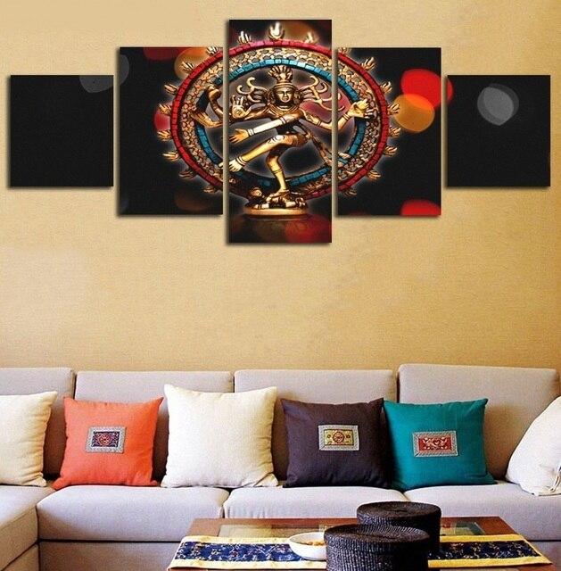 God Nataraja Brass Statues Canvas Painting 5 Pieces Unframed Art ...