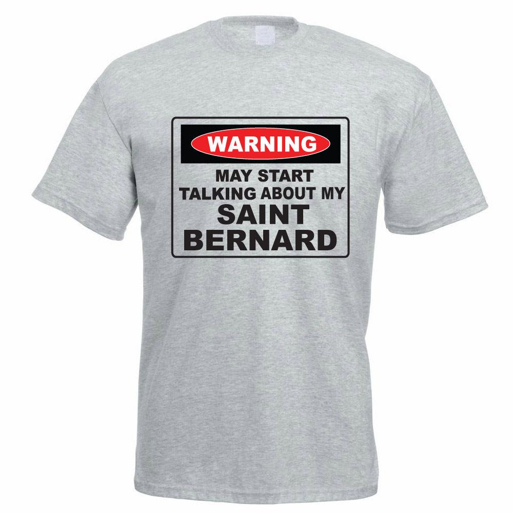 Летние хлопковые короткие магазине могут начать говорить о моем сенбернар идея подарка Для мужчин подарок Рубашка с кгруглой горловиной
