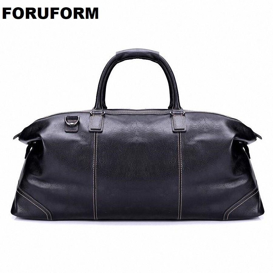 Fashion Genuine Leather Travel Bag Men's Leather Luggage Travel Bag Duffle Bag Large Tote Weekend Overnight Bag LI 1926