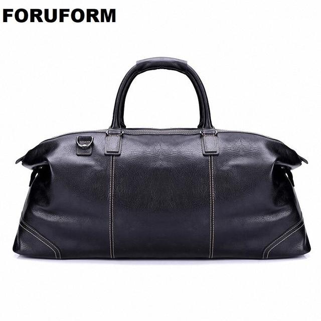 Fashion Genuine Leather Travel Bag Men's Leather Luggage Travel Bag Duffle Bag Large Tote Weekend Overnight Bag LI-1926