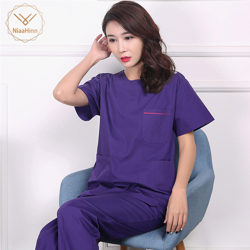 Unisex Purple Coat High Quality Medical Surgical Cotton Pharmacy Doctor Nurse Uniform Scrub Sets Beauty Salon Sets Spa Uniform