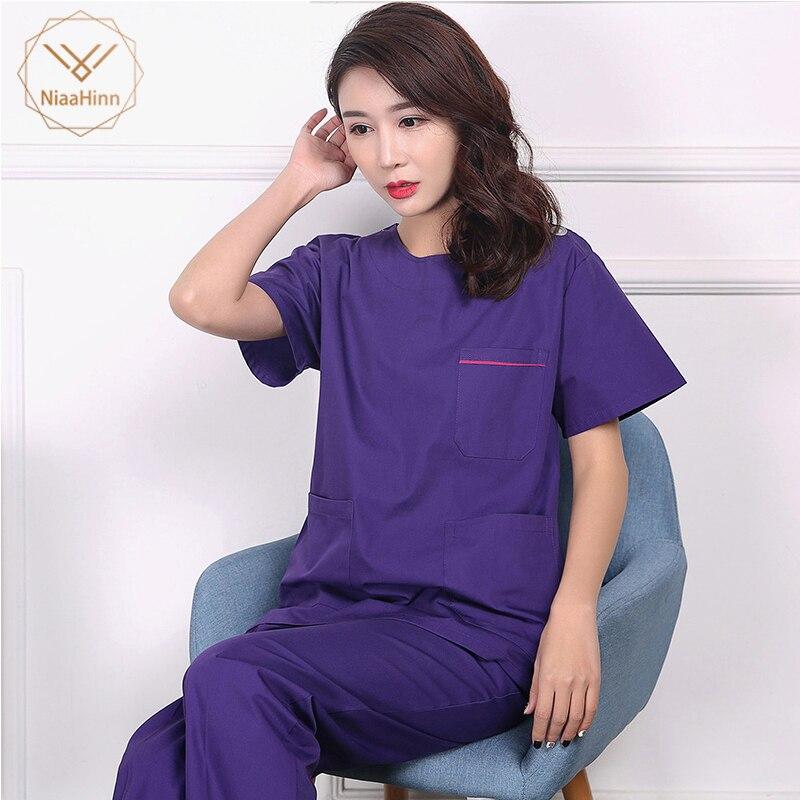 Unisex Purple Coat High Quality Medical Surgical Cotton Pharmacy Doctor Nurse Uniform Scrub Sets Beauty Salon Sets Spa Uniform