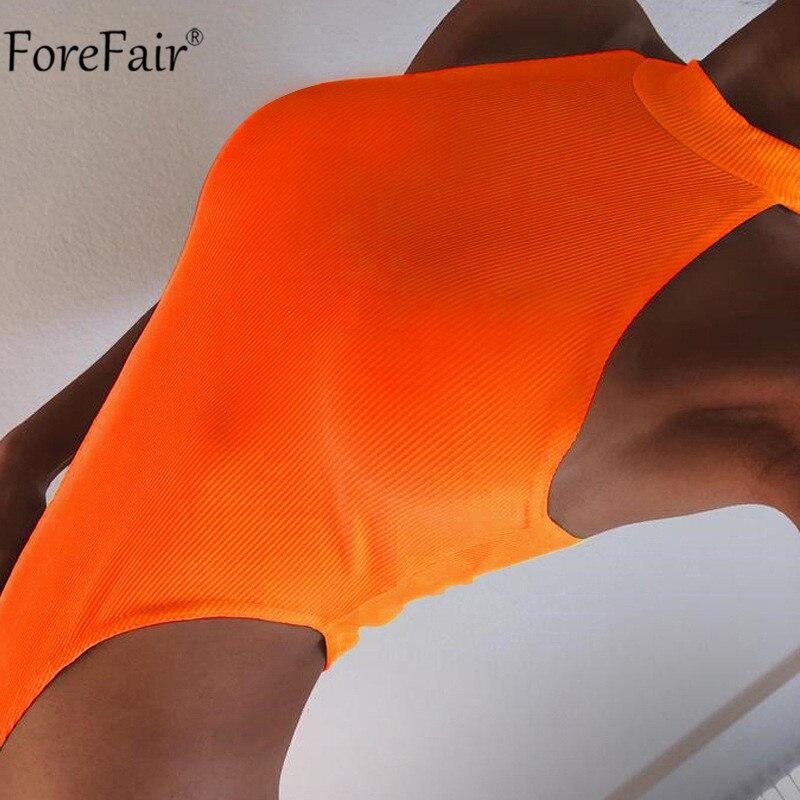 Forefair High Waist High Cut Sleeveless Neon Sexy Bodysuit Women Skinny Summer Bodysuit Black Orange Body Top Rompers