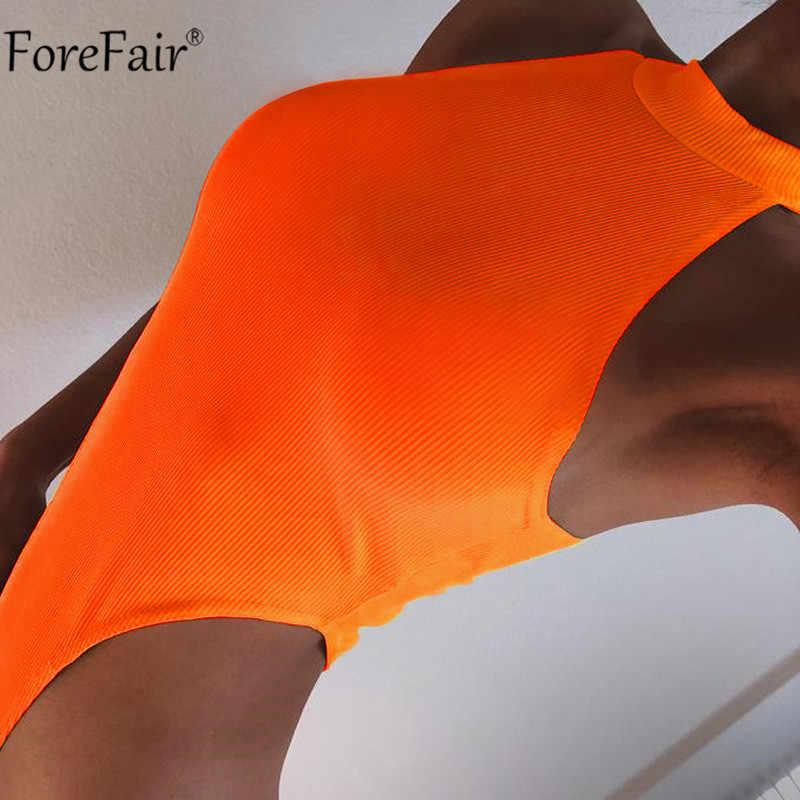 Forefair Высокая талия с высокой талией без рукавов неоновое сексуальное обтягивающее Женское боди летнее боди Черный оранжевый боди