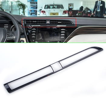 CITALL Car Carbon Fiber Texture Air Conditioning Console Middle Central Outlet Air Vent Cover Trim For Toyota Camry 2018