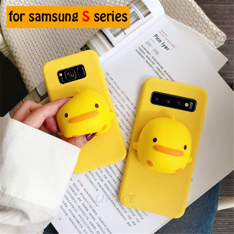 soft 3D yellow duck silicone case on for samsung galaxy s10 e plus s10e s9 s8 s7 s6 edge s4 s5 neo stand cute back cover coque image