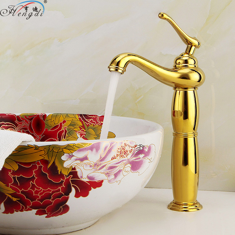 Modern Gold Faucet,Gold Bathroom Faucets,Gold Finish Basin Faucets,Gold Tall High Bathroom Sink Faucet цена 2017