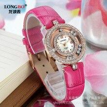 2016 Sale Free shipping Longbo Brand Genuine Leather Strap Watches Women Diamond Watch Ladies Wristwatches Designer Quartz watch