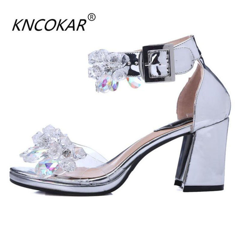 KNCOKAR2018 In the thick and open-toe water drill with the sandal womens mouth high heels and the European summer new weddingKNCOKAR2018 In the thick and open-toe water drill with the sandal womens mouth high heels and the European summer new wedding