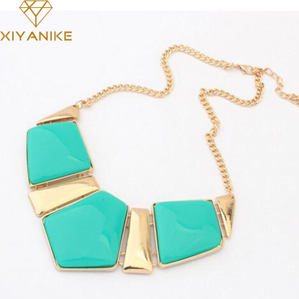 Hot Sale Fashion Jewelry Female Big Imitation Gem Stone Necklace For Women Statement Necklaces Collar Party Necklace N907