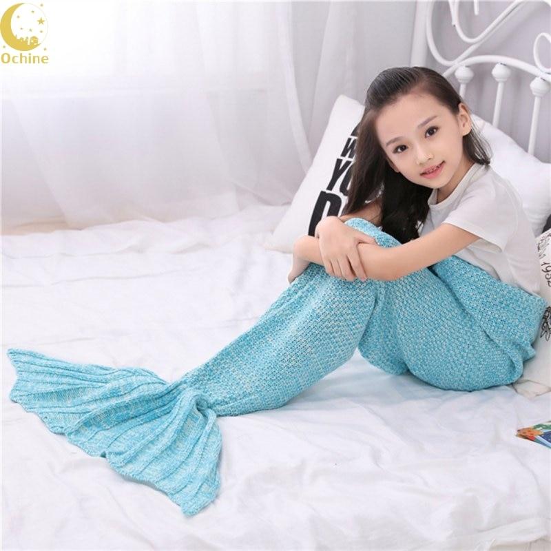 6 Colors Children Yarn Knitted Mermaid Tail Blanket Handmade Crochet Kids Mermaid Blanket Throw Bed Sofa Sleeping Bag L2