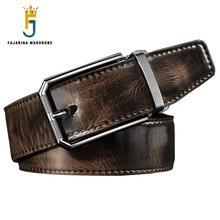 FAJARINA High Quality 3.3cm Unique Design Retro Style Belt Cowskin Leather Cowhide Belts for Men Mens Jeans Freeshipping LUFJ602