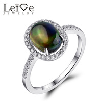 Leige Jewelry Natural Opal Ring Sterling Silver 925 for Women Oval Cut Wedding Promise Rings October Birthstone Christmas Gift