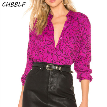 CHBBLF women flower blouse long sleeve turn down collar shirt female fashion stylish tops blusas DFD8862 stylish long sleeve self tie denim blouse for women