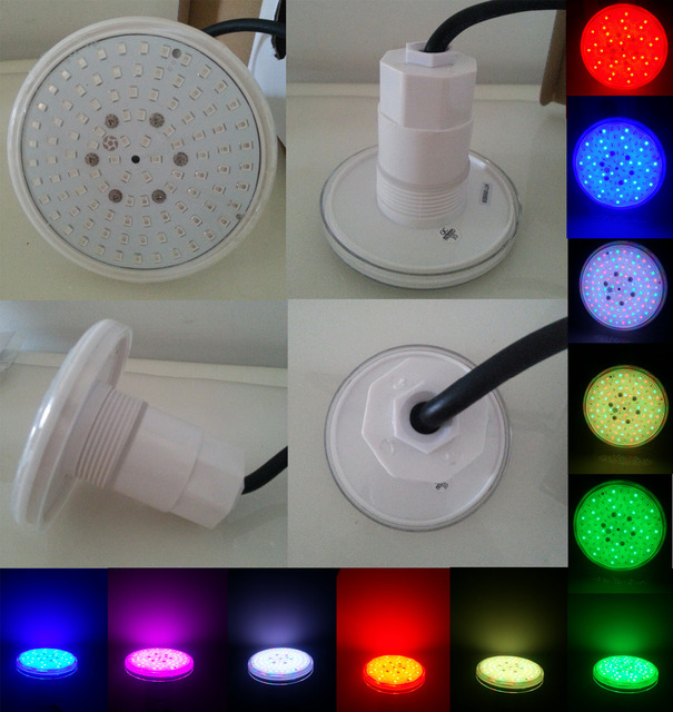 Underwater Led Swimming Pool Light Smd6w 12v Rgb Plastic Resin Waterproof Ip68 Color Changing Fit 1 5