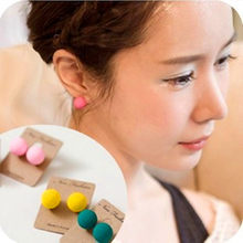 Brincos Para As Mulheres 2018 Top Fashion Real Ball Trendy Earrings Women Lady Charm Cute Chic Scrub Ear Studs Candy Colors(China)