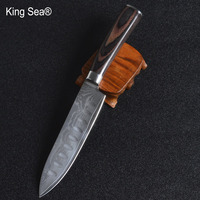 King Sea 5Inch Damascus Steel Utility Knife Japanese Kitchen Knife Damascus Cleaver Slicing with Wood Handle