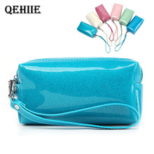 Candy Color Bling Patent Leather Travel Cosmetic bags Women necessaries Makeup bag organizer toiletry make up bag pouch clutch
