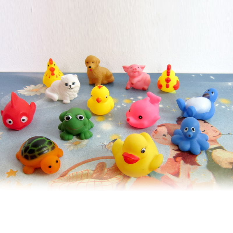 Bath Toy 13pcs/set Mixed Animals Baby Bathing Toy Colorful Soft Rubber Float Squeeze Sound Squeaky Toys Bm88 Profit Small Classic Toys