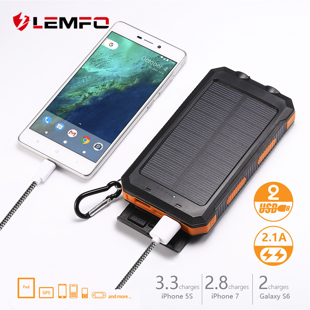 LEMFO Solar Power Bank Solar 10000 Mah External Battery High Power Rechargeable Led Flashlights Free Shipping Powerbank ...