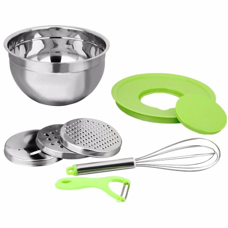 Multifunctional Stainless Steel Combined Bowl Household Shredder Portable Kitchen Shiny Mixing Bowl Set with Lids Tools LQZ4591