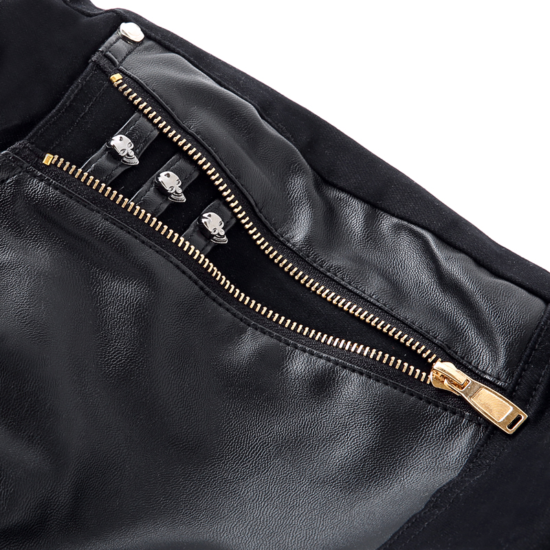 Costura Moda Hombres Empalmado Los Motocicleta Elástico Pu Pantalones Black Hombre Skinny De Cuero Casual Ropa La ITwxX0cq6