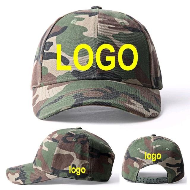 4be2109b1d7 camouflage Snapback LOGO Hats Adult Custom Baseball caps 3D Embroidery LOGO  hats Sun CAMO Peaked Army Green Cap
