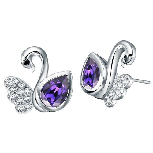 Best Quality Platinum Plated Crystal Earrings,Fashion Crystal Swan Earrings,Wholesale Fashion Jewelry,GYR544