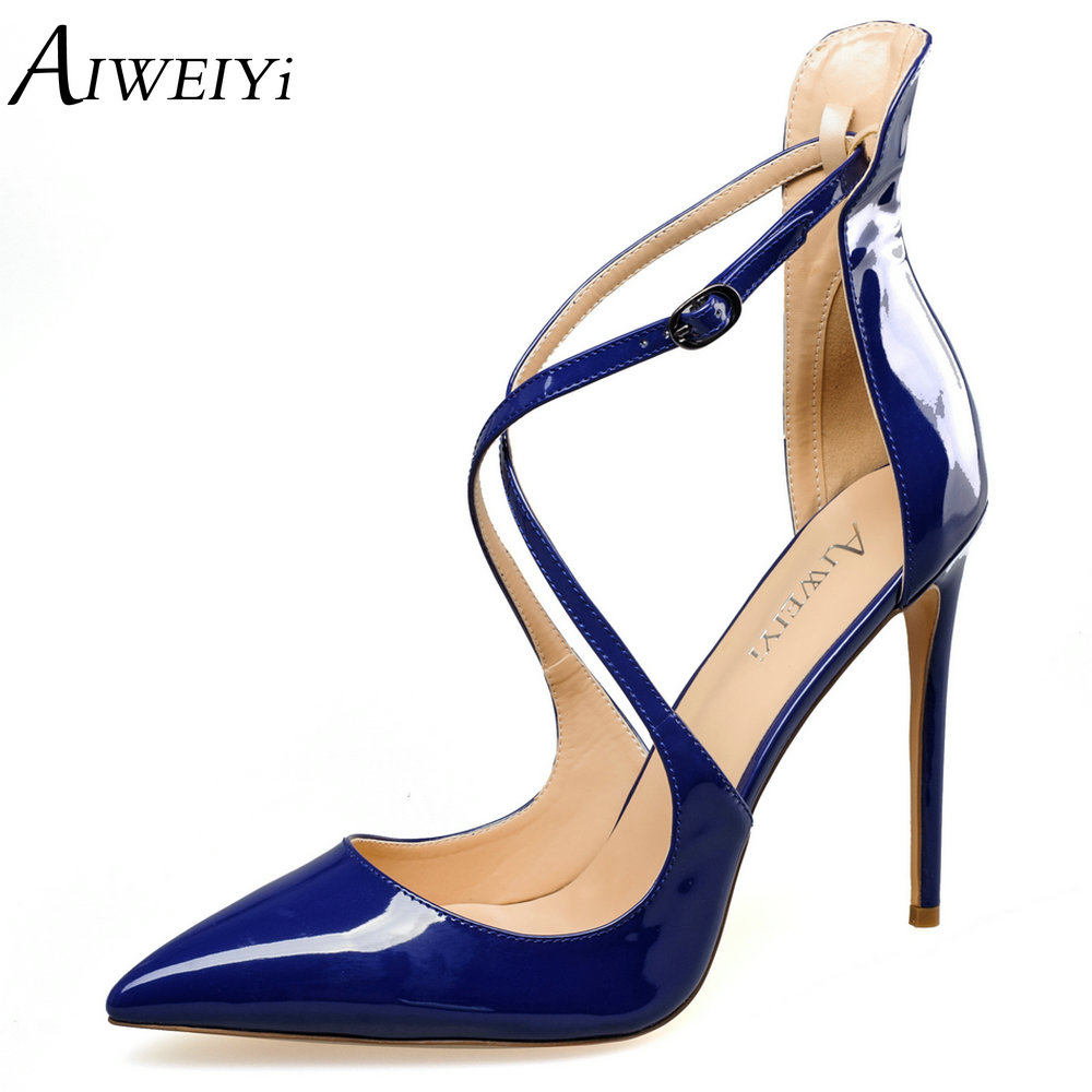 2017 handmade leather low with hollow out sandals shoes leather wedges soft bottom leisure shoes in the summer of mother ag46 AIWEIYi 2017 Summer Style Hollow Out Sandals Soft PU Leather Women Shoes Pointed Toe High Heels Cross Strap Wedding Party Shoes