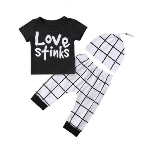Pudcoco 3Pcs Infant Toddler Baby Boys Clothes Plaid Hat Cotton T-shirt Long Pants Outfits Set 6-24Months Helen115