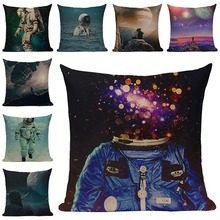 Space Astronaut Printed Cushion Cover Cotton Linen Pillow Cases Sofa Decorative Cushions Chair birthday party Decor