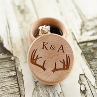R 9 Personalized Antlers Ring Box With Initial Rustic Wood Ring Bearer Box Rustic Wedding Vintage