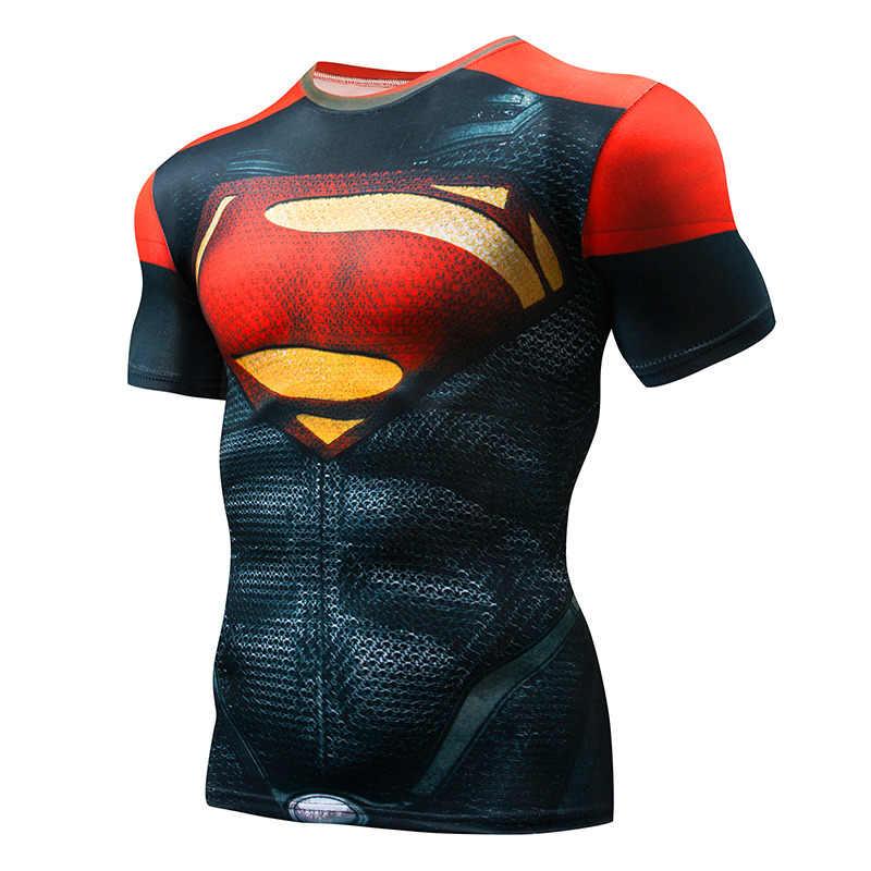 Lengan Pendek 3D T Shirt Pria Kaos Pria CrossFit Tee Captain America Superman Tshirt Pria Kebugaran Kompresi Kemeja Punisher MMA