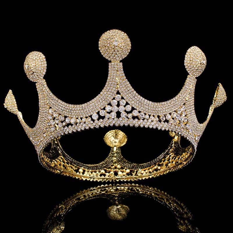 Luxury Gold Rhinestone Tiara for Brides Queen Crown Round Wedding Tiaras and Crowns Women Diadem Crystal Hair Accessories ML849Luxury Gold Rhinestone Tiara for Brides Queen Crown Round Wedding Tiaras and Crowns Women Diadem Crystal Hair Accessories ML849