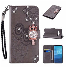 цена на Diamond OWL Strap Wallet Leather Pouch Case For Samsung Galaxy A50 Wallet Flip Case Voor Galaxy S10 Plus S10E Stand Skin Strap