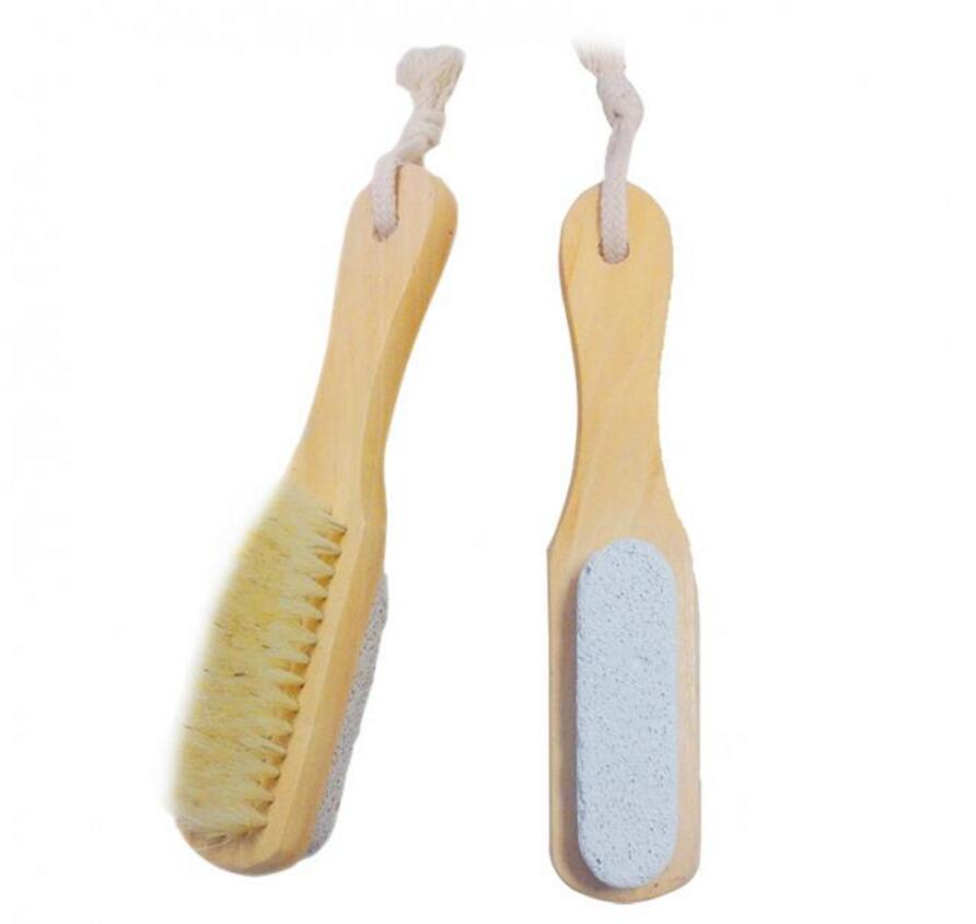 Hot sale Natural Handle Bristle Pumice Stone Rub Feet Foot Exfoliating Dead Skin Remover Spa Massager Wooden Brush SY17D5