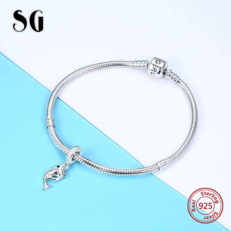 SG 925 Sterling Silver beads Dolphin Pendant Charm with CZ Fit original pandora bracelet DIY jewelry making For girl Gifts in Beads from Jewelry Accessories