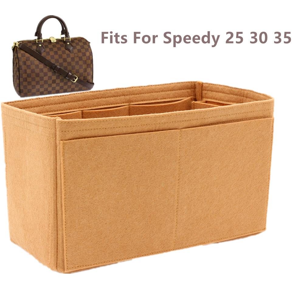 SPEEDY 25 30 35 Felt Cloth Insert Bag Organizer Khaki Makeup Handbag Shaper Organizer Travel Inner Purse Portable Cosmetic Bags