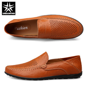 Image 5 - URBANFIND Italian Mens Shoes Casual Luxury Brand Summer Men Loafers Genuine Leather Moccasins Comfy Breathable Slip On Shoes