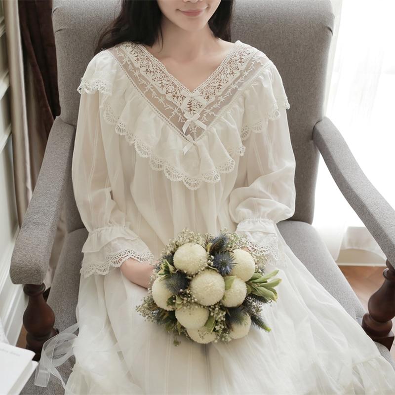 Vintage Sleepwear Women Nightgown Girl Nightgown Dress Women Princess Sleepwear
