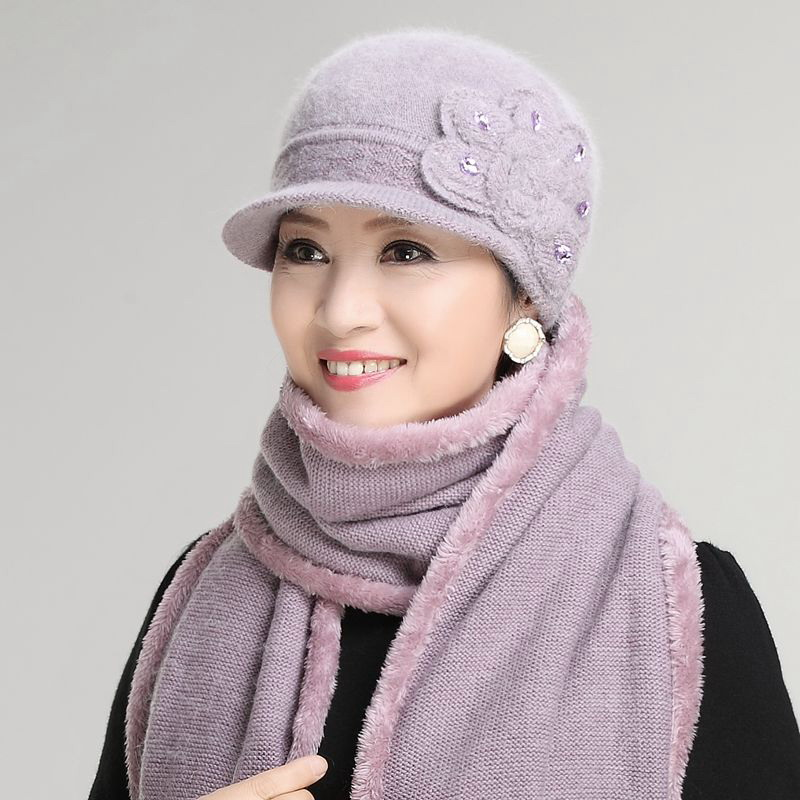 Kagenmo Elderly Women Thermal Twinset Cap Scarf Knit Rabbit Fur Female Hat Thick Long Scarves Windproof Keep Warm New Year Gift
