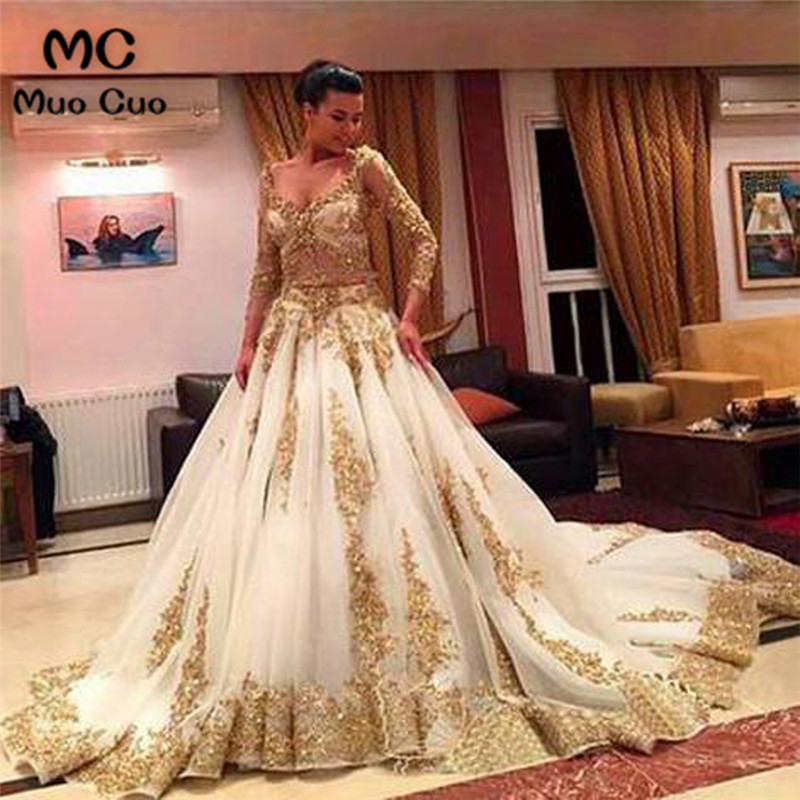 2018 Ball Gown Two Pieces Gown Long Sleeve Evening Dresses Long With Appliques V-Neck Tulle Formal Evening Party Dress For Women