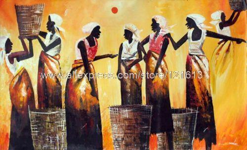 Ongekend Markt Vrouwen Afrikaanse Kunst Orig Schilderen Door Handgemaakte XP-83