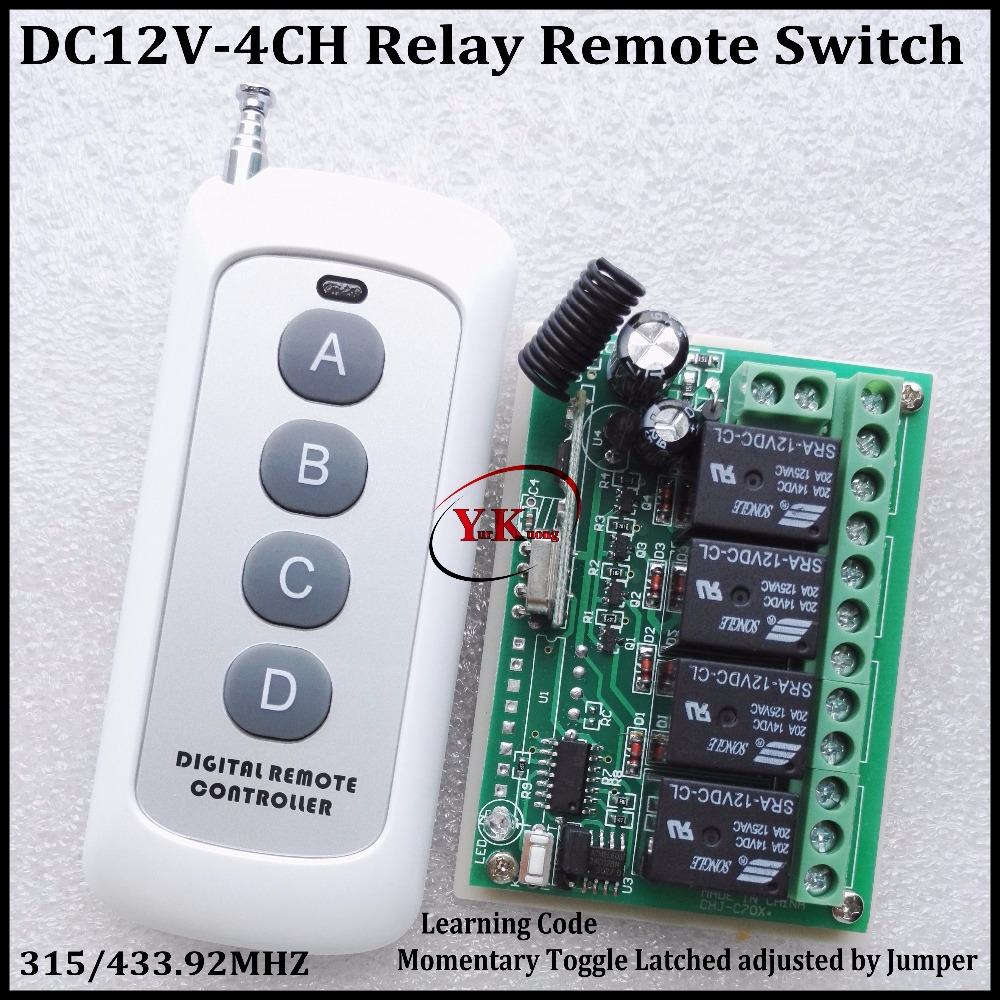 DC 12V 4CH Relay Receiver Transmitter RF Remote Control Switch Wireless Controller 315/433 Long Range Remote Switch 50-1000m remote control switches dc 12v 2ch receiver long range remote control transmitter 50 1000m 315 433 rx tx 2ch relay learning code