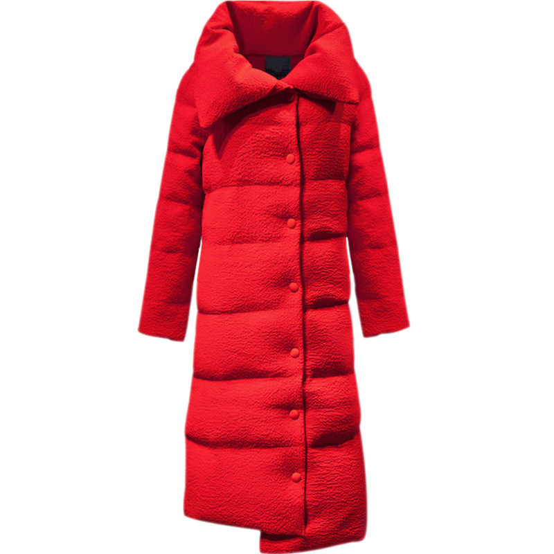 Warm Large Stand Collar Single-breasted Solid Color Parka Down Cotton Womens Manteau Winter Coat Women Casual Jacket TT3556
